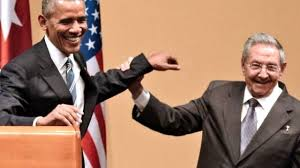 Obama and Raoul Castro